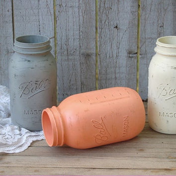 Painted Mason Jars, Coral, Grey, Ivory, Shabby Chic, Distressed, Beach Decor