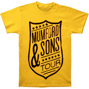Mumford & Sons Men's  Shield Tour Slim Fit T-shirt Yellow Rockabilia