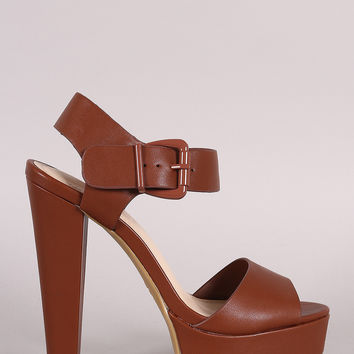 Bamboo Buckled Ankle Strap Chunky Platform Heel