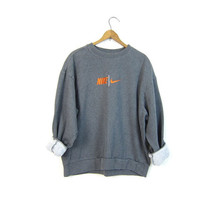Vintage Gray NIKE Sweatshirt Slouchy ATHLETICS Work Out Grey Nike Sports Sporty Sweater Oversize Hipster Grunge Jumper Womens Large