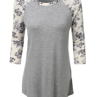 LE3NO Womens Ultrasoft 3/4 Sleeve Floral Graphic Baseball Tee (CLEARANCE)