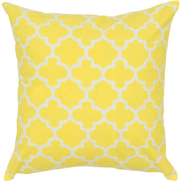 "Two Color Printed Yellow Pillow Cover (18"" x 18"")"