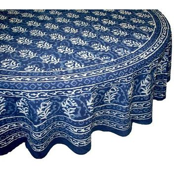 Floral Block Print Tablecloth Rectangular Dabu Cotton Indigo Blue Round Table Linen