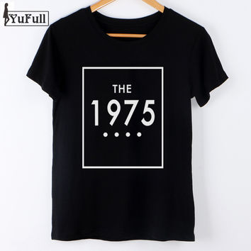Fashion 2017 Tshirt Women Summer Tops Letter the 1975 Print T Shirt Plus Size Women Clothing Slim Black Tee Shirt Femme O-neck