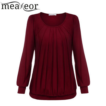 Meaneor Women Autumn Winter Long Sleeve Tops shirt Famale Scoop O-Neck Front Drape Fold Top Outside Inside wear Solid Color Tops