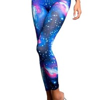 Amour- Galaxy Leggings Starry Night Sky Milky Way Aurora Space Hipster Trendy (BS107bl)