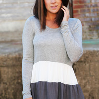 Double Dip Tunic {Gray + Charcoal}