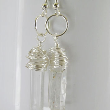 Crystal silver wire wrapped earrings Chakra purifying Christmas gift stocking stuffer gift under 25