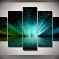 Lake Space Northern Lights Aurora Borealis 5-Piece Wall Art Canvas