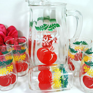 Vtg Glass Pitcher and Glasses Libbey Set Red Tomato White Green and Yellow