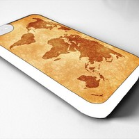 World Map Vintage Iphone 4/4s 5 5c 6 6plus Case (iphone 5c white)