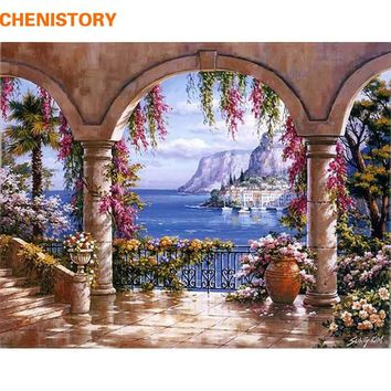 CHENISTORY Europe Seascape DIY Painting By Numbers Kits Acrylic Painting On Canvas Abstract Oil Painting For Wall Art Picture