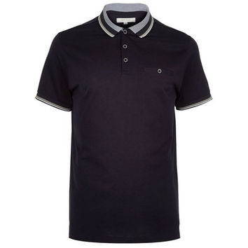 Striped Color Short Sleeve Polo Shirt