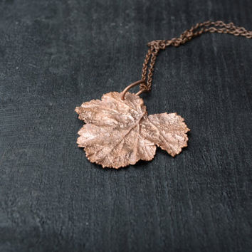 simple nature pendant copper necklace fall pendant original Christmas gift botanical pendant real leaf jewelry minimalist electroformed