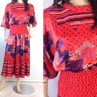 Diane Freis Dress  Boho Gypsy Dress   1980 Dress Polka Red  Party Dress 1 size s m