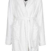 Striped Teddy Robe - White