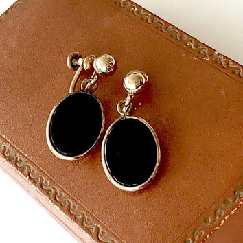 Vintage Van Dell 12K GF Black Onyx Dangle Earrings  Screw Back  Open Back Oval Shape  Gold Ball  Van Dell Jewelry  Signed  Vintage 1960s