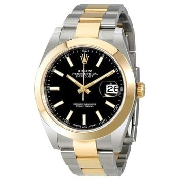 Rolex Datejust 41 Black Dial Steel 18K Yellow Gold Oyster Mens Watch 126303BKSO
