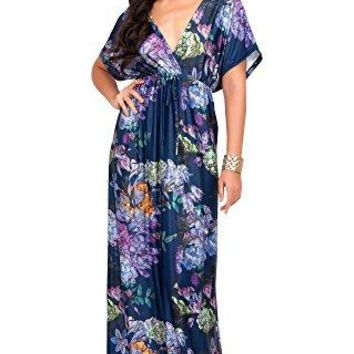 KOH KOH Womens Short Kimono Sleeve VNeck Floral Summer Long Casual Maxi Dress