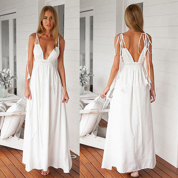 Women's Evening Party Summer Beach Long Sun Dress Maxi Dress