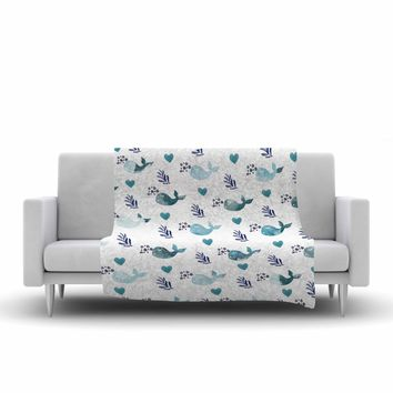 "Li Zamperini ""Whale"" Blue Teal Watercolor Fleece Throw Blanket"