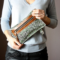 Iphone6 case, Green Brown leather clutch, wristlet, floral embossed leather purse, Iphone case, wallet, coin purse, small wristlet clutch