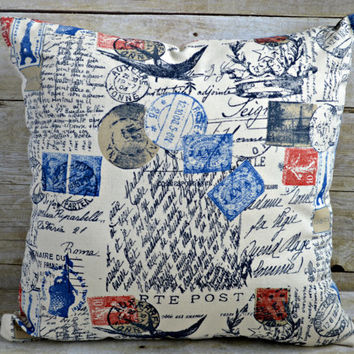 16x16 Decorative Throw Pillow.  Natural, Navy and Red Postal fabric