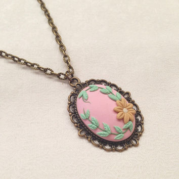 flower necklace - embroidery flower clay -  boho necklace -statement necklace - jewelry embroidery handmade cabochon - clay flowers