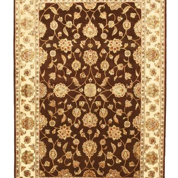 EORC Hand-knotted Wool & Silk Brown Traditional Oriental Flower Jaipur Rug