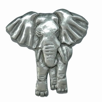 ON SALE--) Vintage Elephant Figural Brooch, Signed NR Brooch, Safari Brooch, Collectible Figural, Vintage Jewelry, Elephant Pewter Brooch