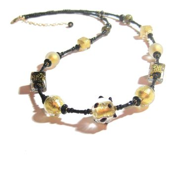 Murano Glass Black Cube Ball Long Gold Necklace, Italian Jewelry