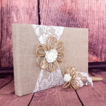 Rustic Wedding Guest Book Burlap and Lace Wedding Guest Book and Pen Set Wedding Guest Book