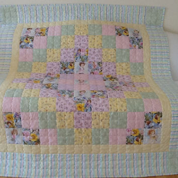 Angel Quilt, Handmade Quilt, Large Lap Quilt,Throw  56 x 65 inches Free Shipping Canada and USA