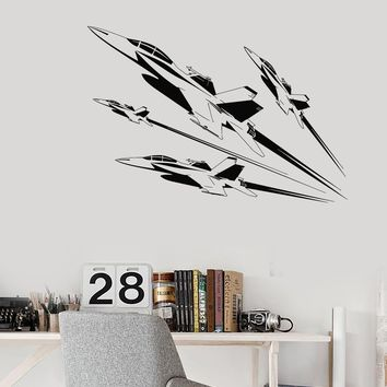 Wall Decal Air Force Fighter Aircraft Boys Military Room Vinyl Stickers Unique Gift (ig2873)