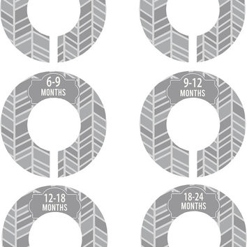 Custom Baby Closet Dividers Grey and White Herringbone Gender Neutral Boy Girl Closet Dividers Baby Shower Gift Baby Clothes Organizers Baby