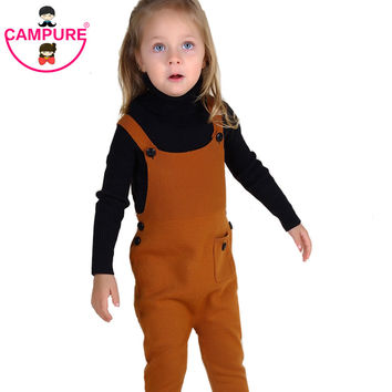 1-5YRrs New Spring Unisex Boys Girls Pocket Knitted Overalls Jumpsuits Children Kids Candy Color Bib Harem Pants Baby Clothing