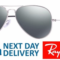 Ray-Ban Sunglasses Aviator 3026 003/40 Silver Grey Mirror Large 62mm