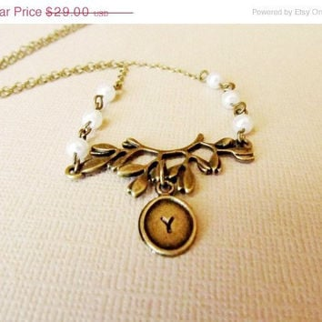 ON SALE BranchTree Necklace, Hand Stamped, Personalized, Initials - Mom, Mother's Day, Anniversary, Wedding. Great Gift