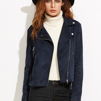 Navy Faux Suede Asymmetric Zip Biker Jacket | MakeMeChic.COM
