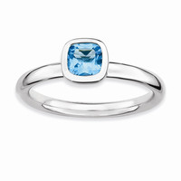 Sterling Silver Stackable Expressions Cushion Cut Blue Topaz Ring: RingSize: 7