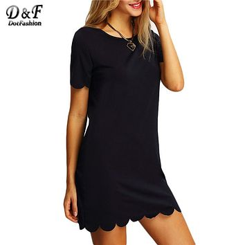 Dotfashion Ladies Black Scalloped Hem Keyhole Dresses New Arrival Casual Summer Style Womens Straight Mini Dress