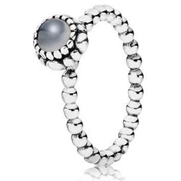 Authentic Pandora Jewelry - Birthday Blooms June w-Grey Moonstone Ring
