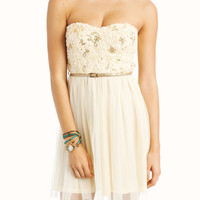 belted-sequined-tulle-dress CREAMGOLD - GoJane.com