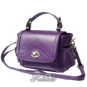 Small Italian Genuine Leather Purple Handbag with Shoulder Strap