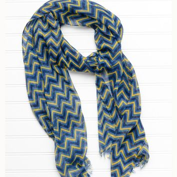 ZigZag Fringed Scarf in Blue and Gold