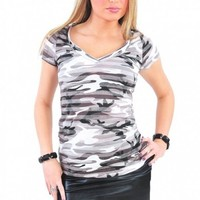 Stripe Army V-Neck Top - Diva Hot Couture