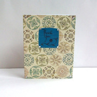 Teal Handmade Thank You Card with Calligraphy -Single Card- Envelope included