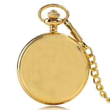 Luxury Gold Smooth Steampunk Quartz Pocket Watch Casual Vintage Fob Clock Men Women Pendant Gift With Chain 2017+ Gift Bag