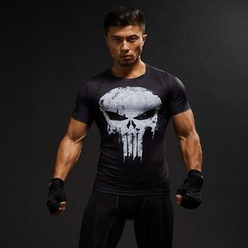 PEAPFS2 Punisher Compression Shirt Mens Tops Skulls 3D Digital Printed Tight Fitness T-shirt Shipping in united states