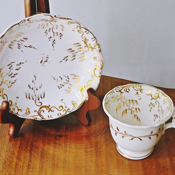 Antique Cup And Saucer, White And Gold China, Elegant Teacup And Saucer